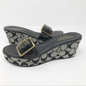 Coach Black Logo Canvas Simone Wedge Sandals 7.5M
